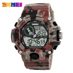 Skmei 1029 Men Digital/Analog Watch-Red Camouflage